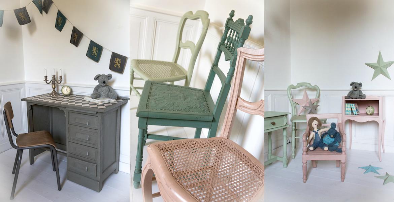 Bureau damier + chaises